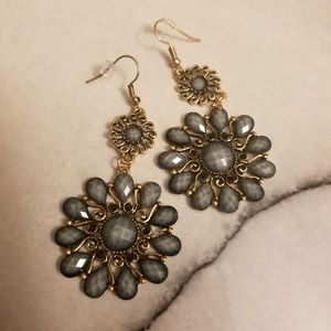 Jewelry - Gray Retro Water-Drop Bronze Petal Earrings